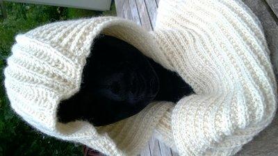 wolpakket sjaal met capuchon